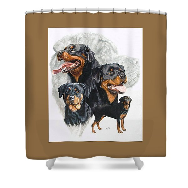 Shower Curtain featuring the mixed media Rottweiler Medley by Barbara Keith