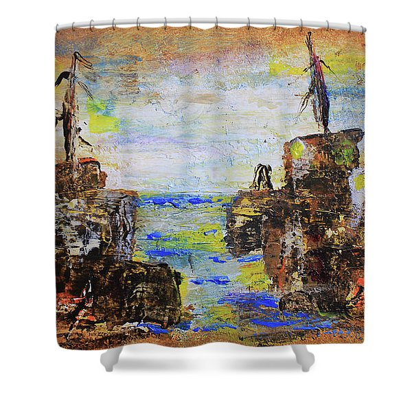 Rough Country Abstract Shower Curtain