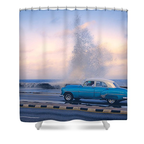 Rough Surf On The Malecon Shower Curtain