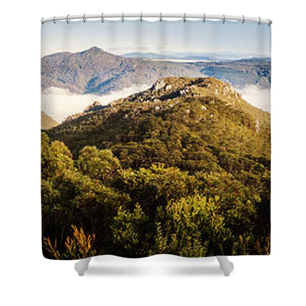 Round Mountain Lookout Shower Curtain