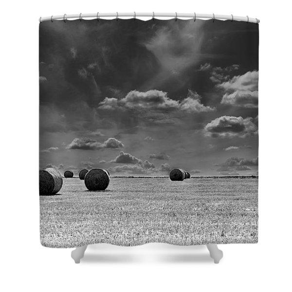 Round Straw Bales Landscape Shower Curtain
