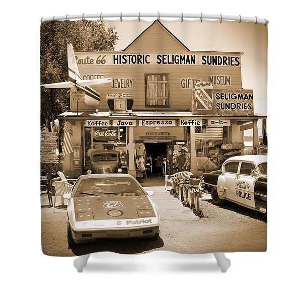 Route 66 - Historic Sundries Shower Curtain