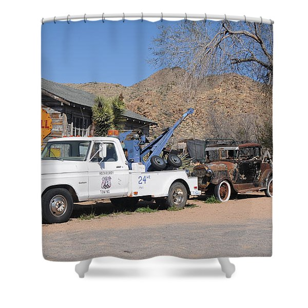 Route 66 Old Shell Service Station Shower Curtain