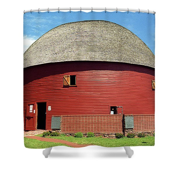 Route 66 - Round Barn Shower Curtain