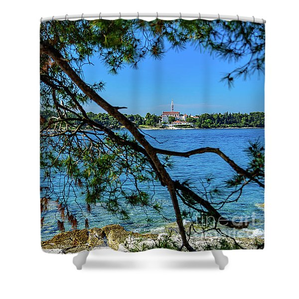 Rovinj Old Town Accross The Adriatic Through The Trees Shower Curtain
