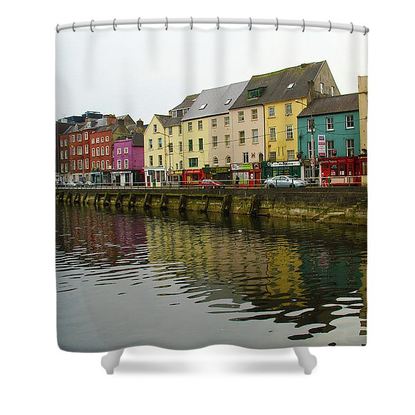 Row Homes On The River Lee, Cork, Ireland Shower Curtain