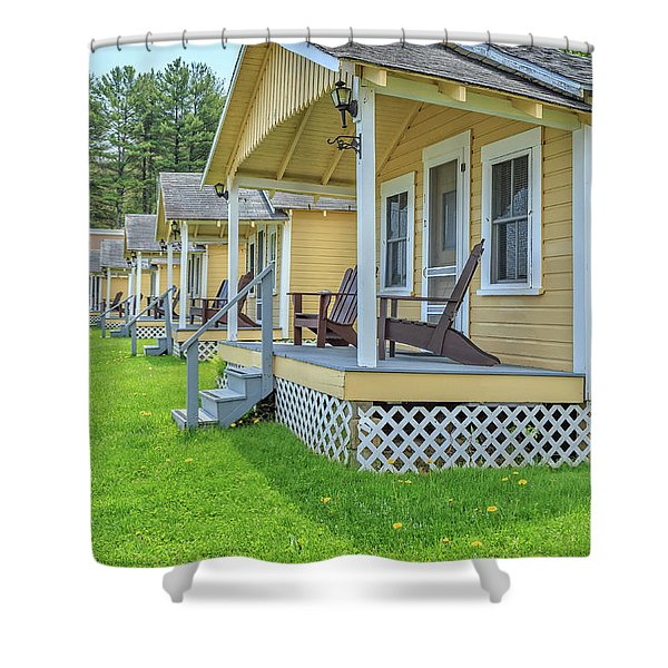 Row Of Vintage Yellow Rental Cottages Shower Curtain