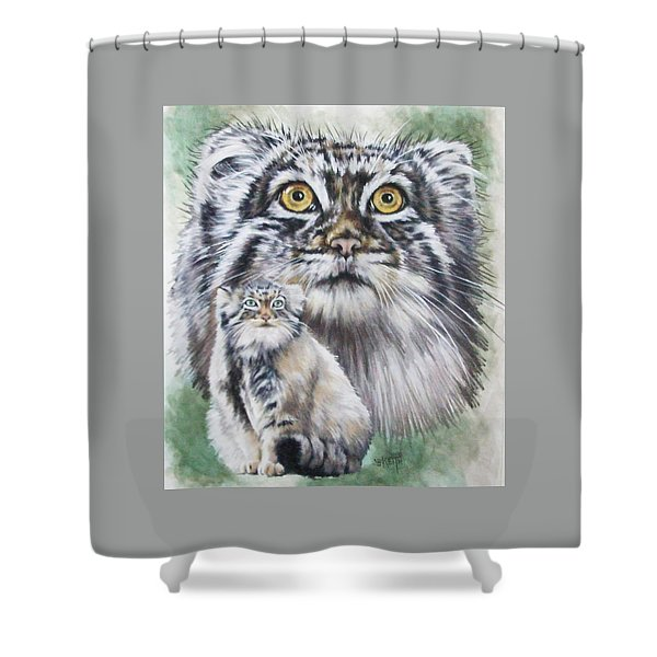 Shower Curtain featuring the mixed media Rowdy by Barbara Keith