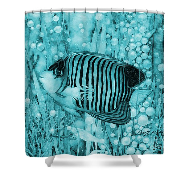 Royal Angelfish On Blue Shower Curtain
