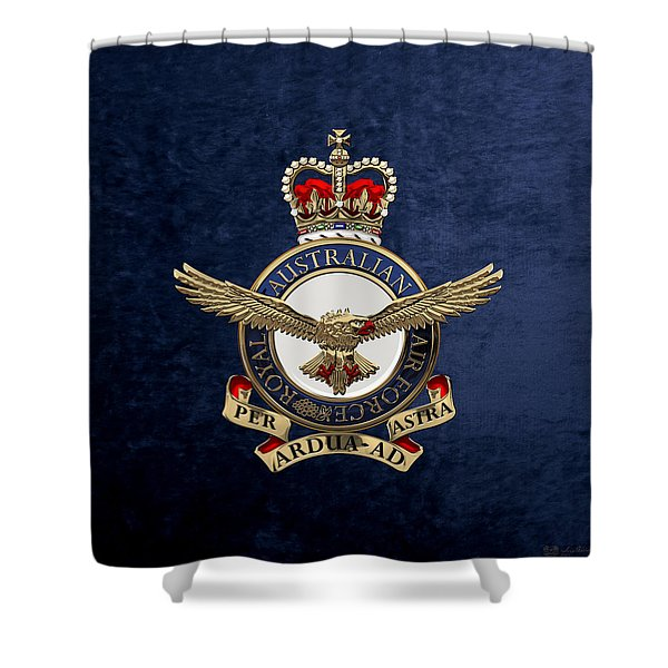 Royal Australian Air Force -  R A A F  Badge Over Blue Velvet Shower Curtain