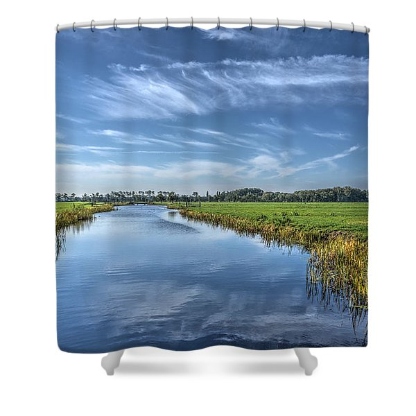 Royal Canal And Grasslands Shower Curtain