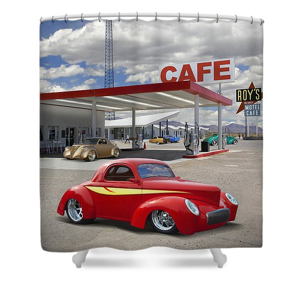 Roy's Gas Station - Route 66 2 Shower Curtain