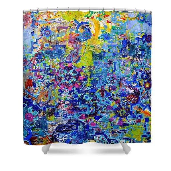 Rube Goldberg Abstract Shower Curtain