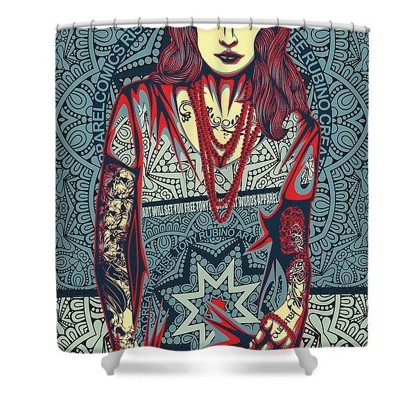 Rubino Red Lady Shower Curtain