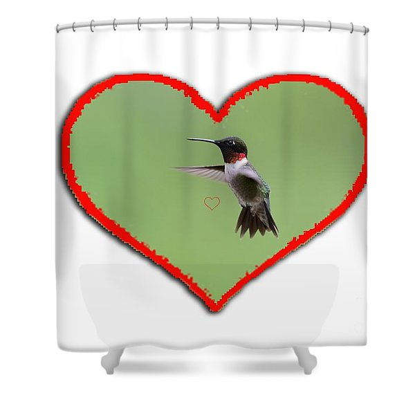 Ruby-throated Hummingbird In Heart Shower Curtain