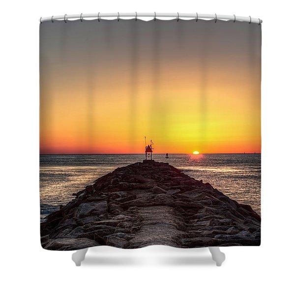 Rudee Inlet Jetty Shower Curtain
