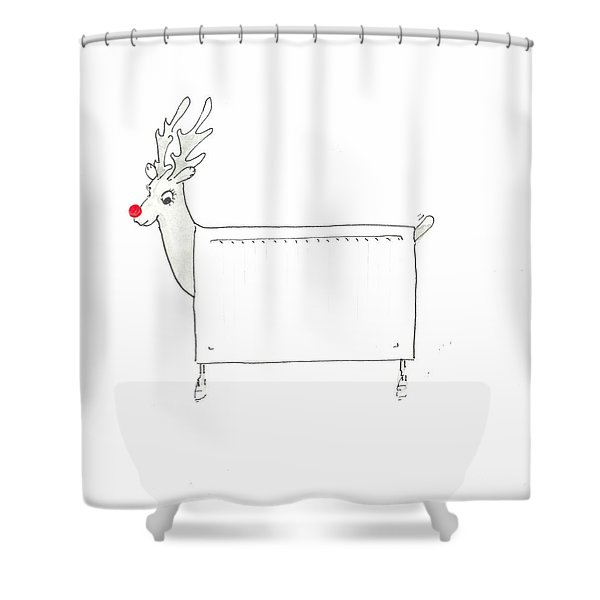 Rudolf The Red Nosed Radiator Shower Curtain