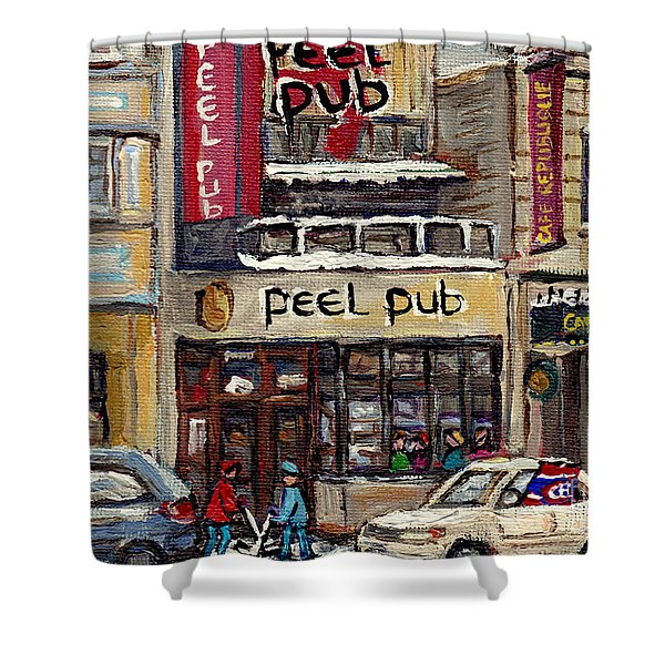 Rue Peel Montreal Winter Street Scene Paintings Peel Pub Cafe Republique Hockey Scenes Canadian Art Shower Curtain