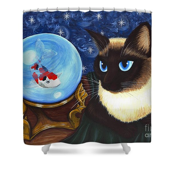 Rue Rue's Fortune - Siamese Cat Koi Shower Curtain