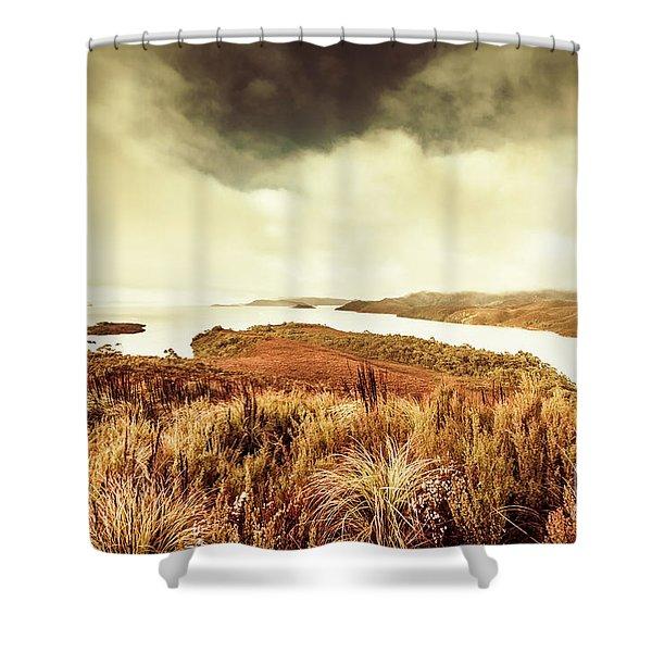 Rugged River Scene Shower Curtain