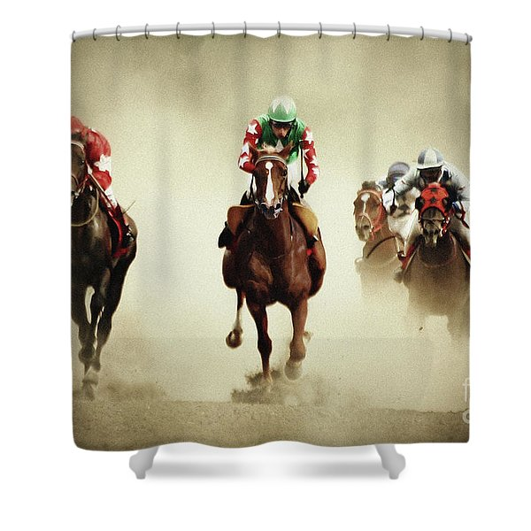 Running Horses In Dust Shower Curtain