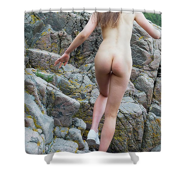 Running Nude Girl On Rocks Shower Curtain