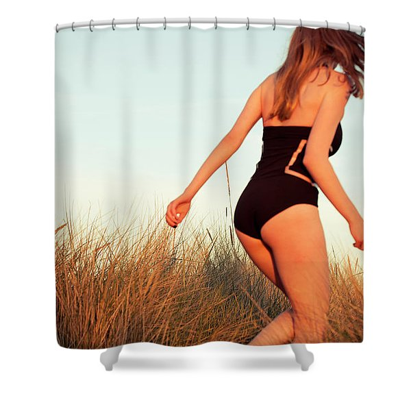 Running Unsharp In The Golden Hour Shower Curtain