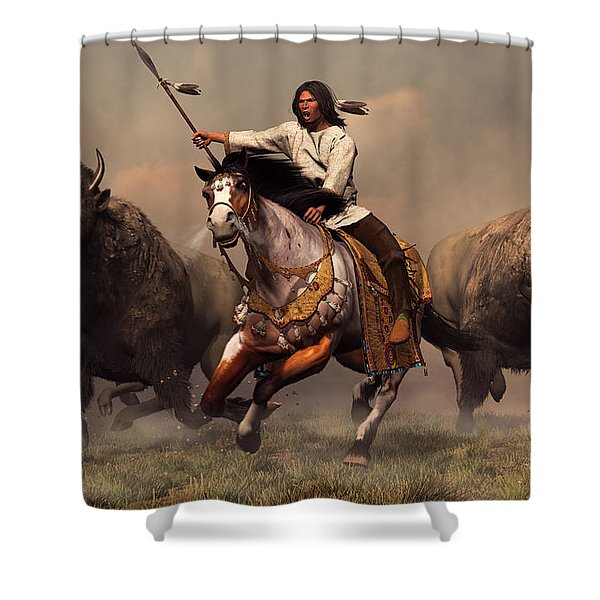 Running With Buffalo Shower Curtain