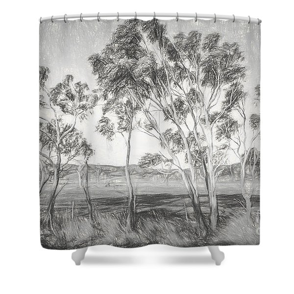 Rural Landscape Pencil Sketch Shower Curtain