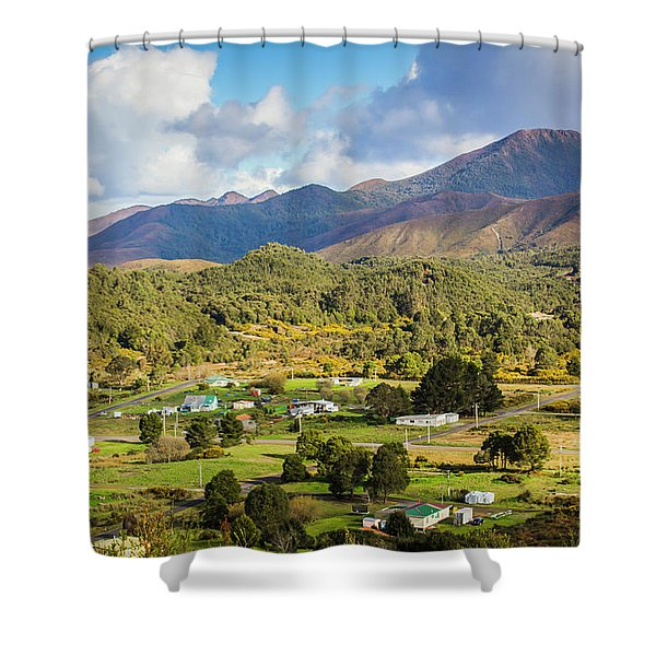 Rural Landscape With Mountains And Valley Village Shower Curtain