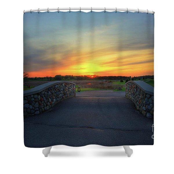 Rush Creek Golf Course The Bridge To Sunset Shower Curtain