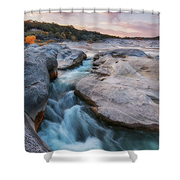 Rushing Waters At Pedernales Falls State Park - Texas Hill Country Shower Curtain