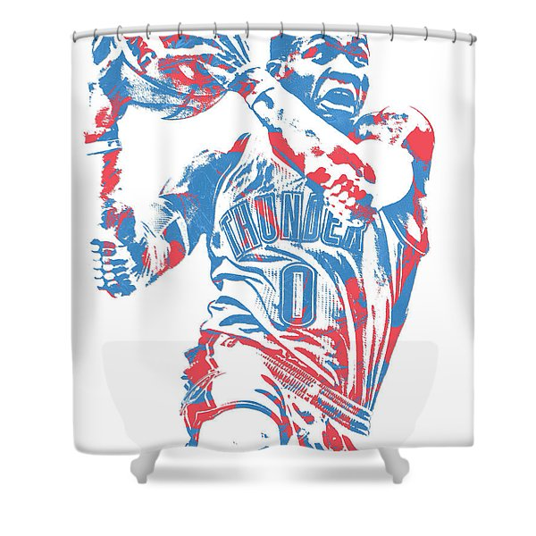 Russell Westbrook Oklahoma City Thunder Pixel Art 36 Shower Curtain