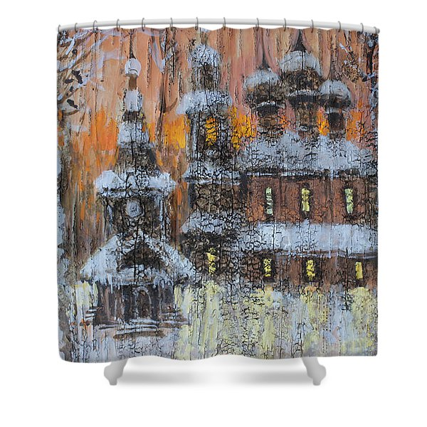 Russian Church Under Snow Shower Curtain