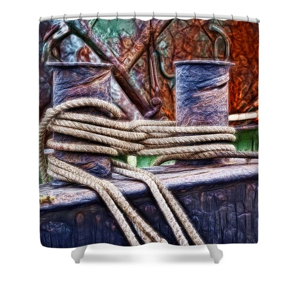 Rust And Rope Shower Curtain