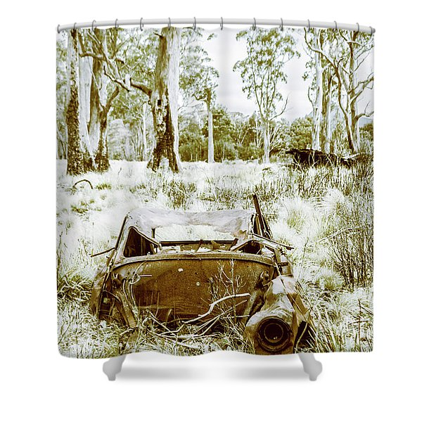 Rustic Australian Car Landscape Shower Curtain