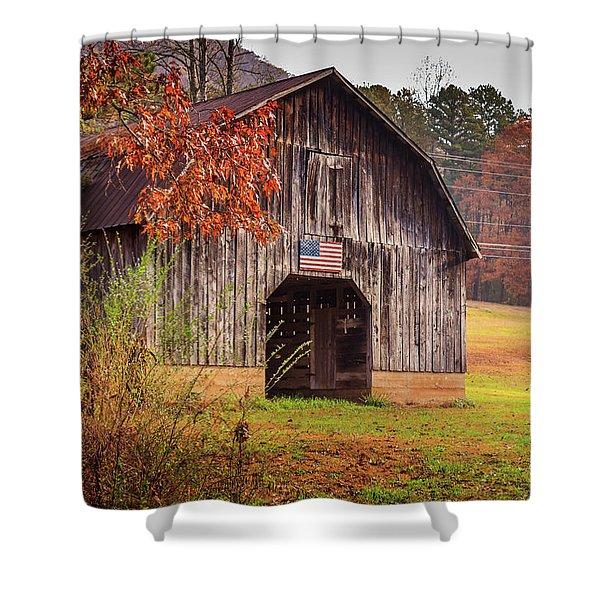 Rustic Barn In Autumn Shower Curtain