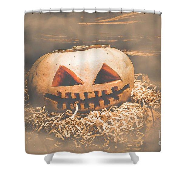 Rustic Barn Pumpkin Head In Horror Fog Shower Curtain