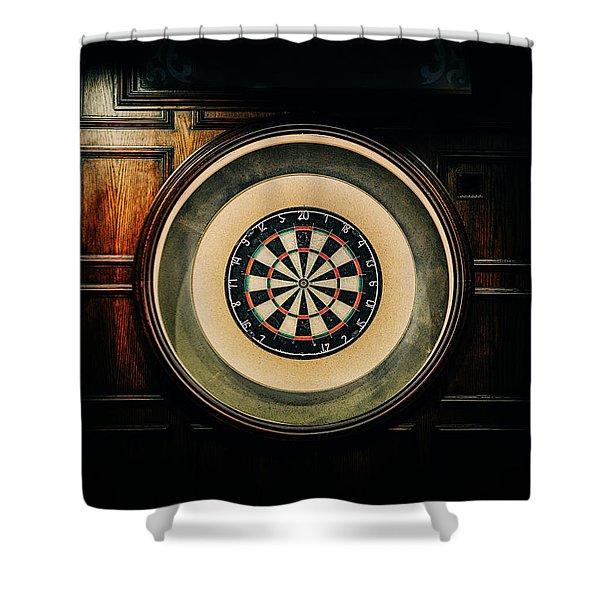 Rustic British Dartboard Shower Curtain