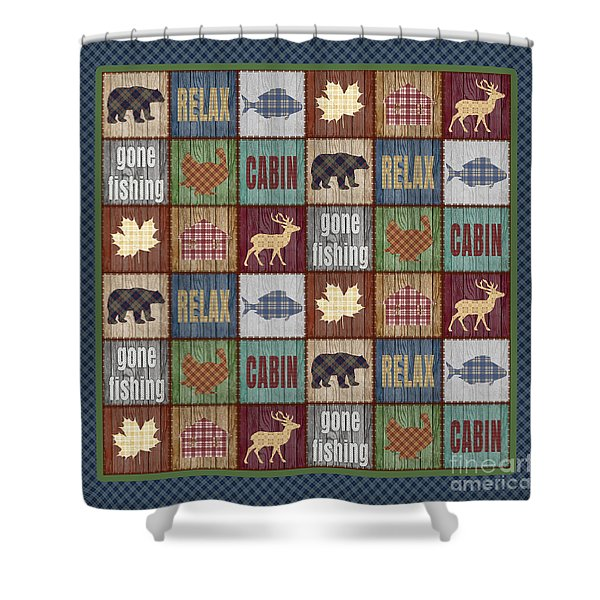 Rustic Cabin Quilt Shower Curtain