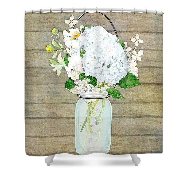 Rustic Country White Hydrangea N Matillija Poppy Mason Jar Bouquet On Wooden Fence Shower Curtain