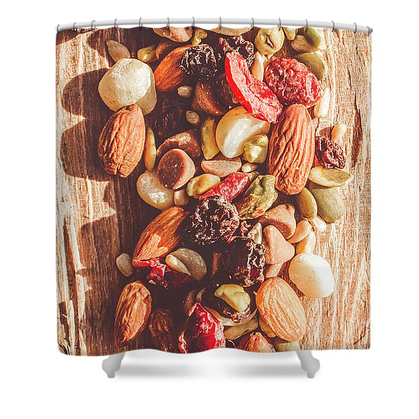 Rustic Dried Fruit And Nut Mix Shower Curtain