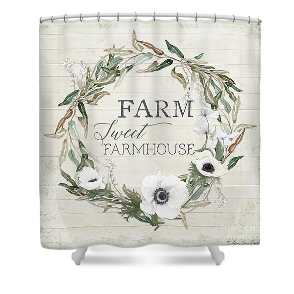 Rustic Farm Sweet Farmhouse Shiplap Wood Boho Eucalyptus Wreath N Anemone Floral 2 Shower Curtain