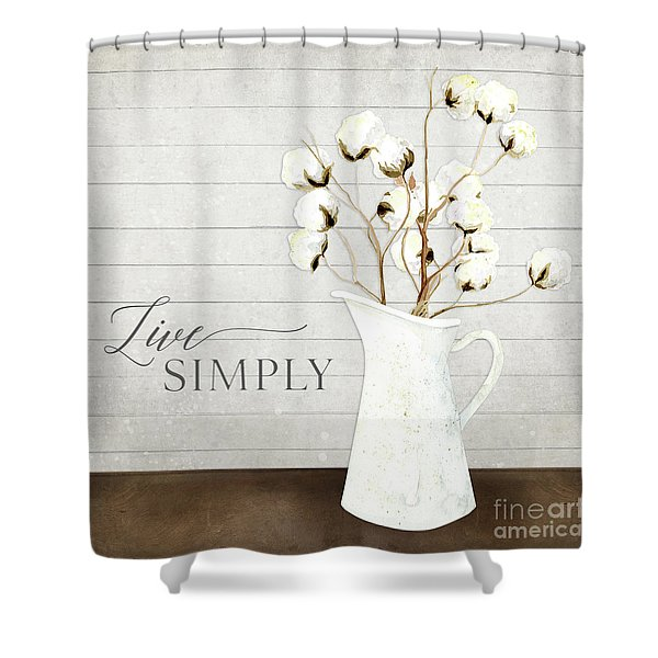 Rustic Farmhouse Cotton Boll Milk Pitcher Live Simply Shower Curtain