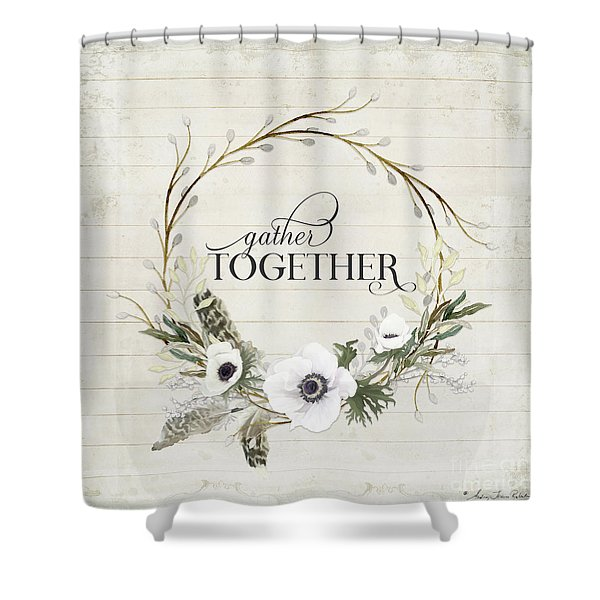 Rustic Farmhouse Gather Together Shiplap Wood Boho Feathers N Anemone Floral 2 Shower Curtain