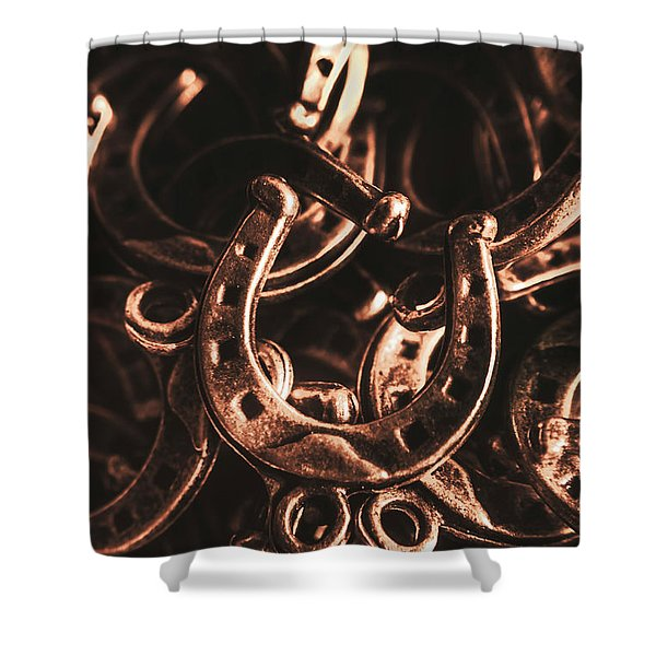 Rustic Horse Shoes Shower Curtain