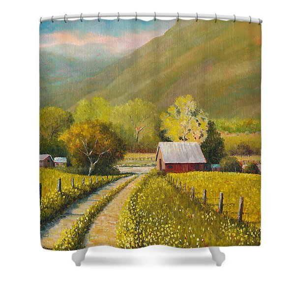 Rustic Road Shower Curtain