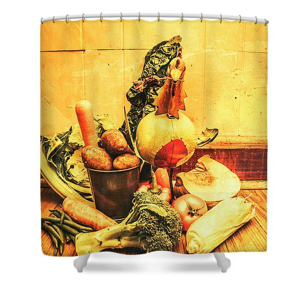 Rustic Vegetable Decor Shower Curtain