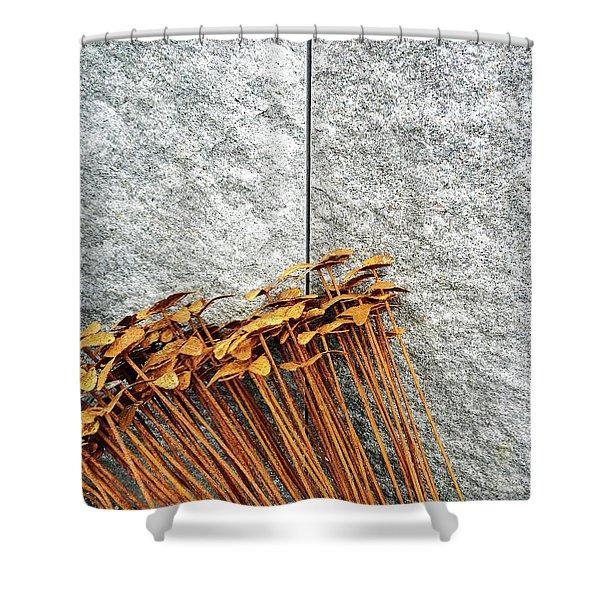 Rusty Iron Flowers On Granite Background Shower Curtain