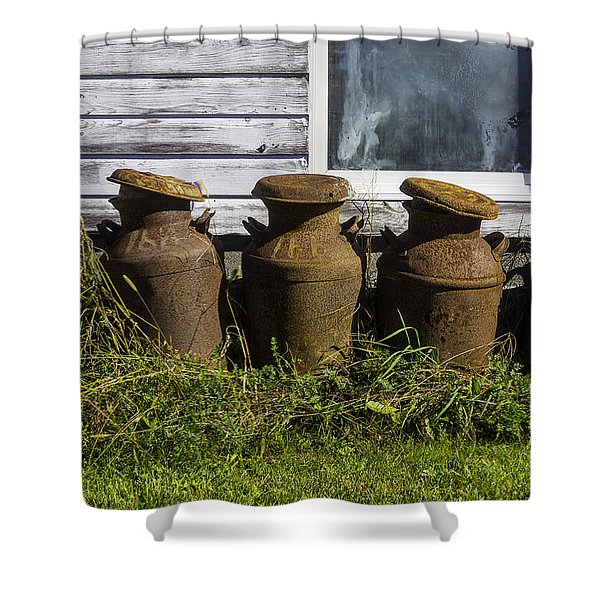 Rusty Milk Cans Shower Curtain